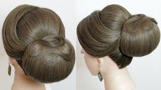 Bridal hairstyle. Classic updo for long medium hair tutorial