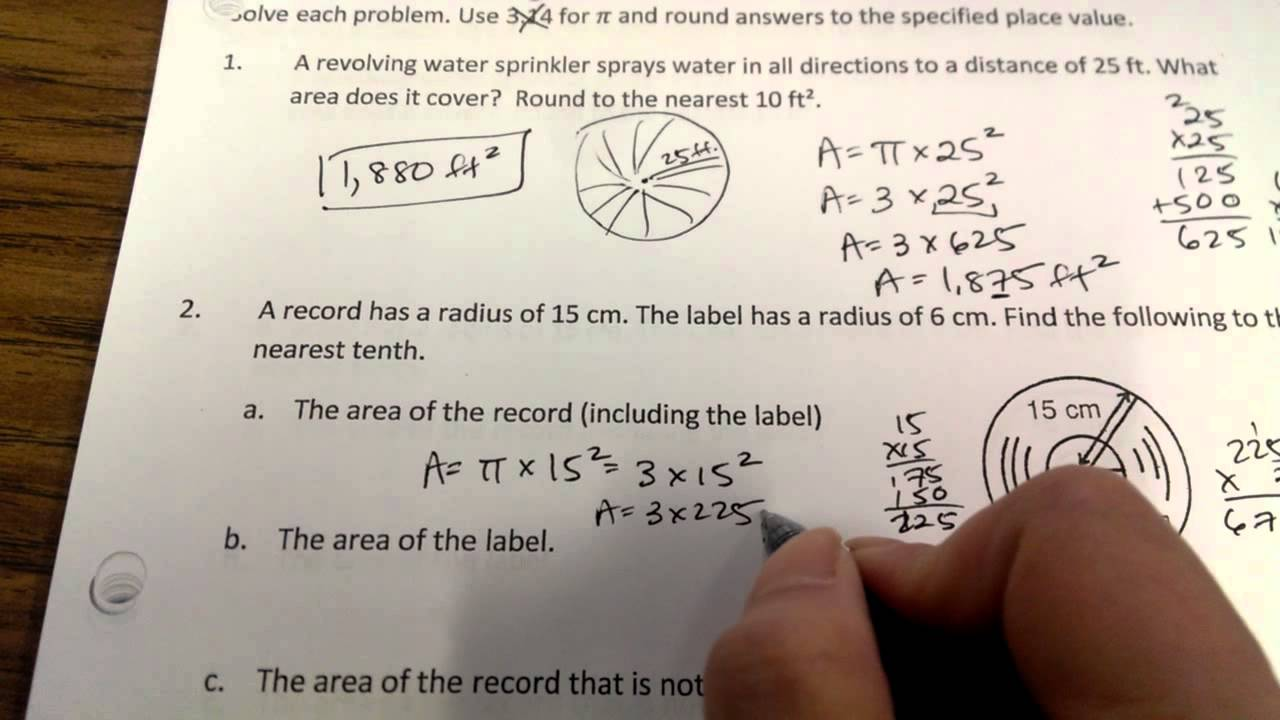 worksheet Circumference Of A Circle Worksheet With Answers area of circles word problems youtube