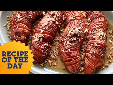 Hasselback Sweet Taters With Salted Walnut Butter