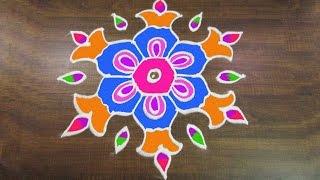 #289 - Sankranthi Muggulu   9 to 5 Interlaced Dots   Easy Rangoli Designs Rangavalli by Sunitha
