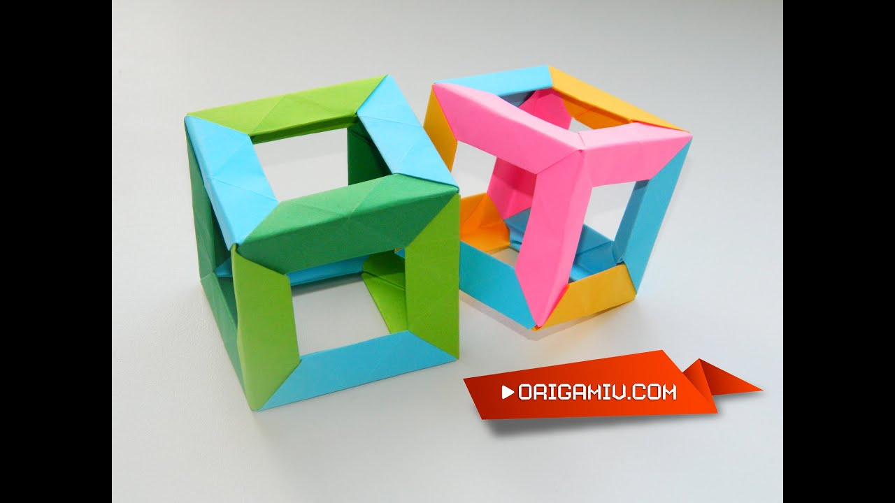 Origami Cube Colored Paper Tutorial