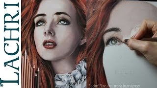 Realistic colored pencil portrait  tutorial - speed drawing w/ Lachri