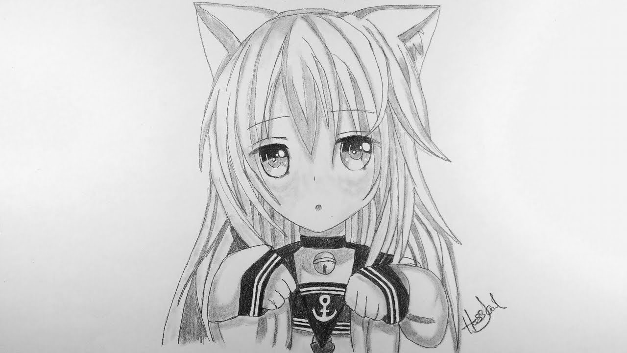 "How to draw Anime ""Neko"" Girl ( Anime Drawing Tutorial For Beginners )"