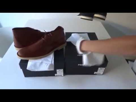 [SOLD] Pierre Hardy Desert Boot Chukka Suede navy red and Leather Mat calf brown