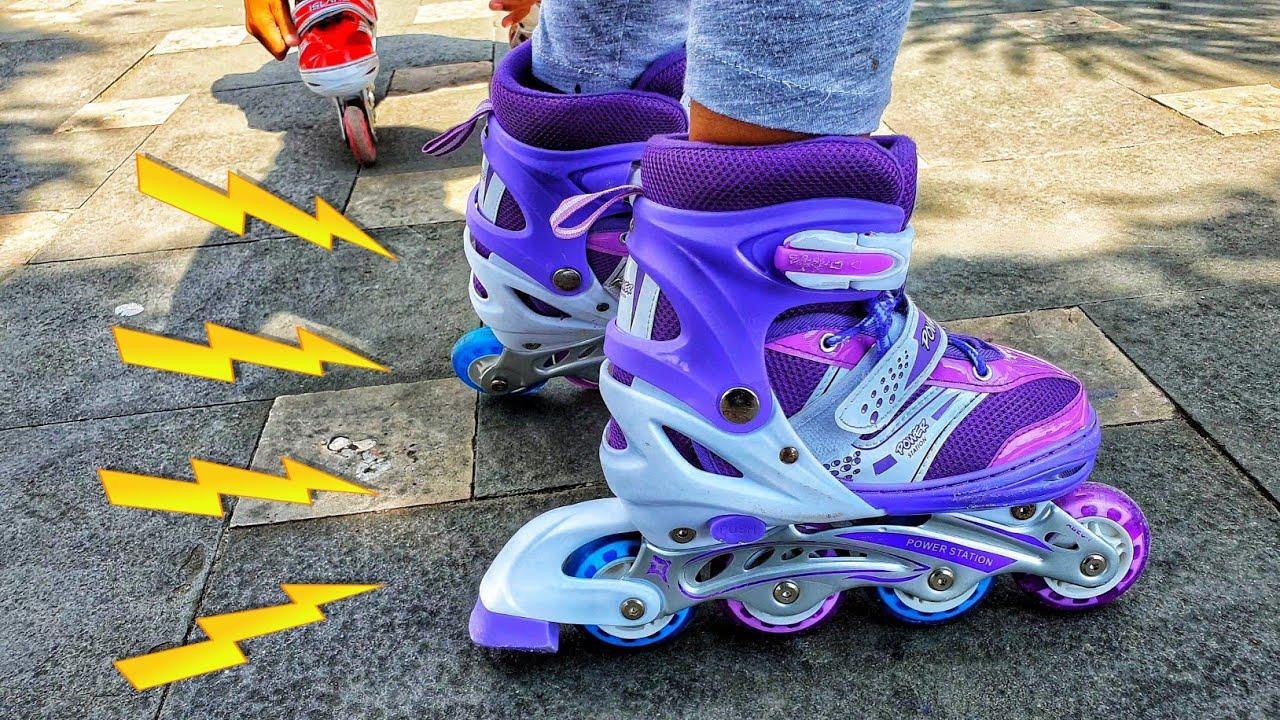 Keren Bermain Sepatu Roda Anak Baru Warna Ungu ❤ Mainan Anak Sepatu Roda -  Roller Skates - YouTube