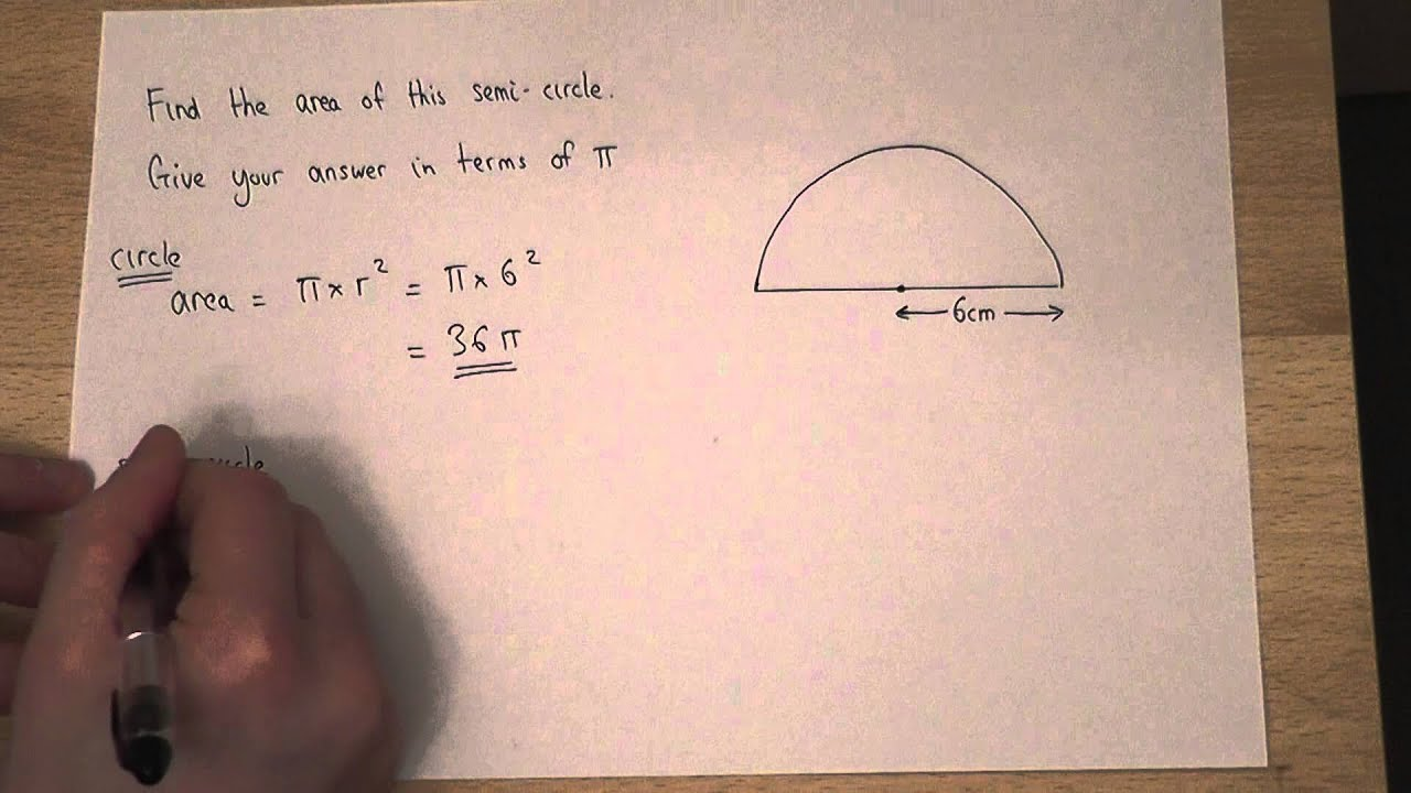 Area How To Find The Area Of A Semi Circle