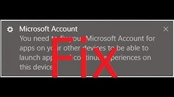 """Fix """"you need to fix your microsoft account for apps on your other devices to be able"""""""