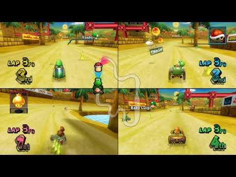 Mario Kart Wii DS Desert Hills 4 player Netplay race 60fps