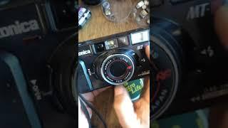 Konica MT-11 mt11 auto focus film camera operation video  코니카 mt-11 자동 카메라 사용법 필름 넣는 법