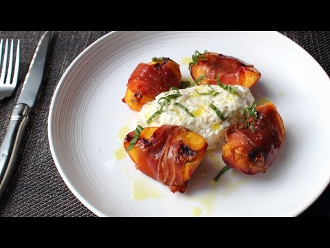 Grilled Prosciutto-Wrapped Peaches with Burrata & Basil - Summer Appetizer or Savory Dessert