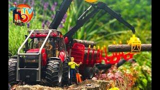 BRUDER Traktor CASE Forestry with trailer and trunks  | Kids Videos