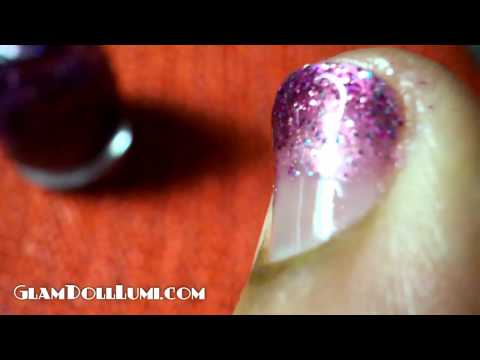 nail tutorial: glitter fade thumbnail