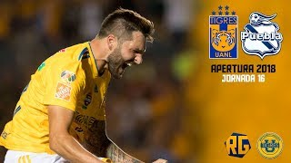 Tigres Vs Puebla 6 1 RESUMEN Jornada 16 Apertura 2018 Liga Mx HD