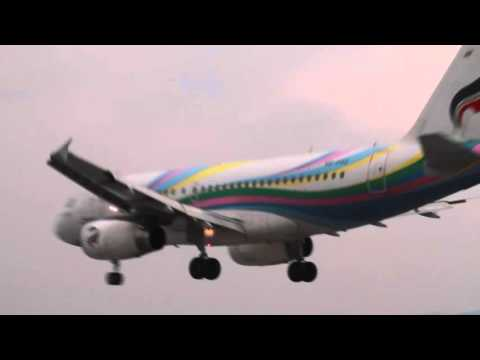 Bangkok Air Airbus landing at Koh Samui Airport, Thailand