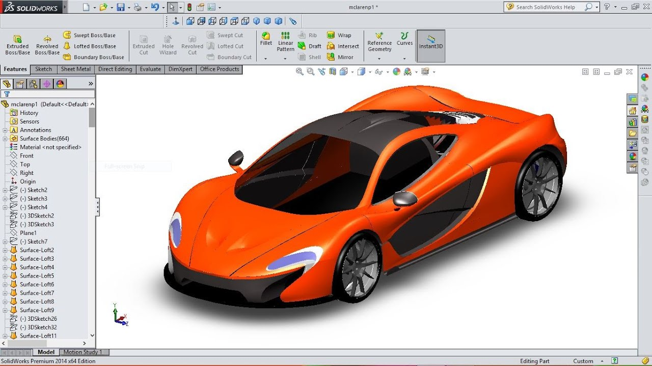 Design of car model - Solidworks Tutorial Mclaren P1 Car Modelling