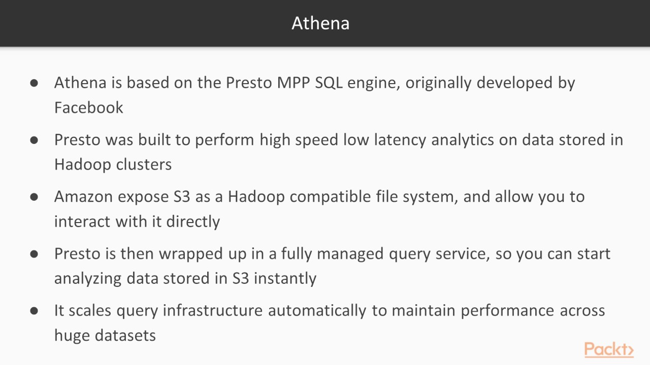 Elastic Databases and Data Processing with AWS : Amazon Athena and Redshift  Spectrum | packtpub com