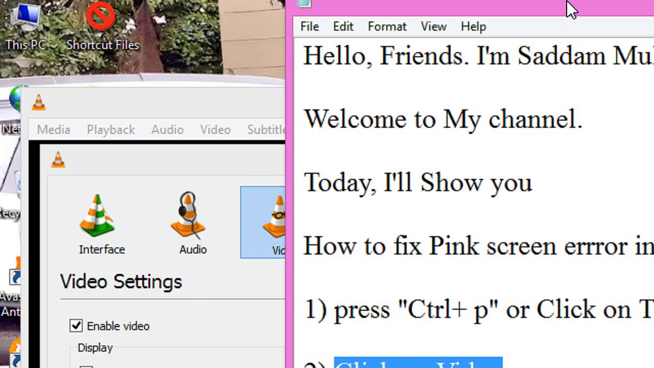 How to fix VLC player 3 0 0 Pink screen error (Solved)