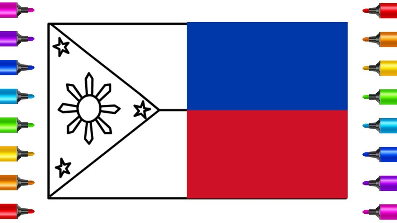 Flag Draw | Philippines Flag Drawing and Coloring Pages | Drawing ...