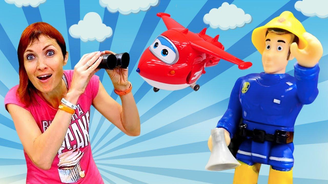 Видео для детей сигрушками— Маша Капуки Кануки, Пожарный Сэм ицветные машинки