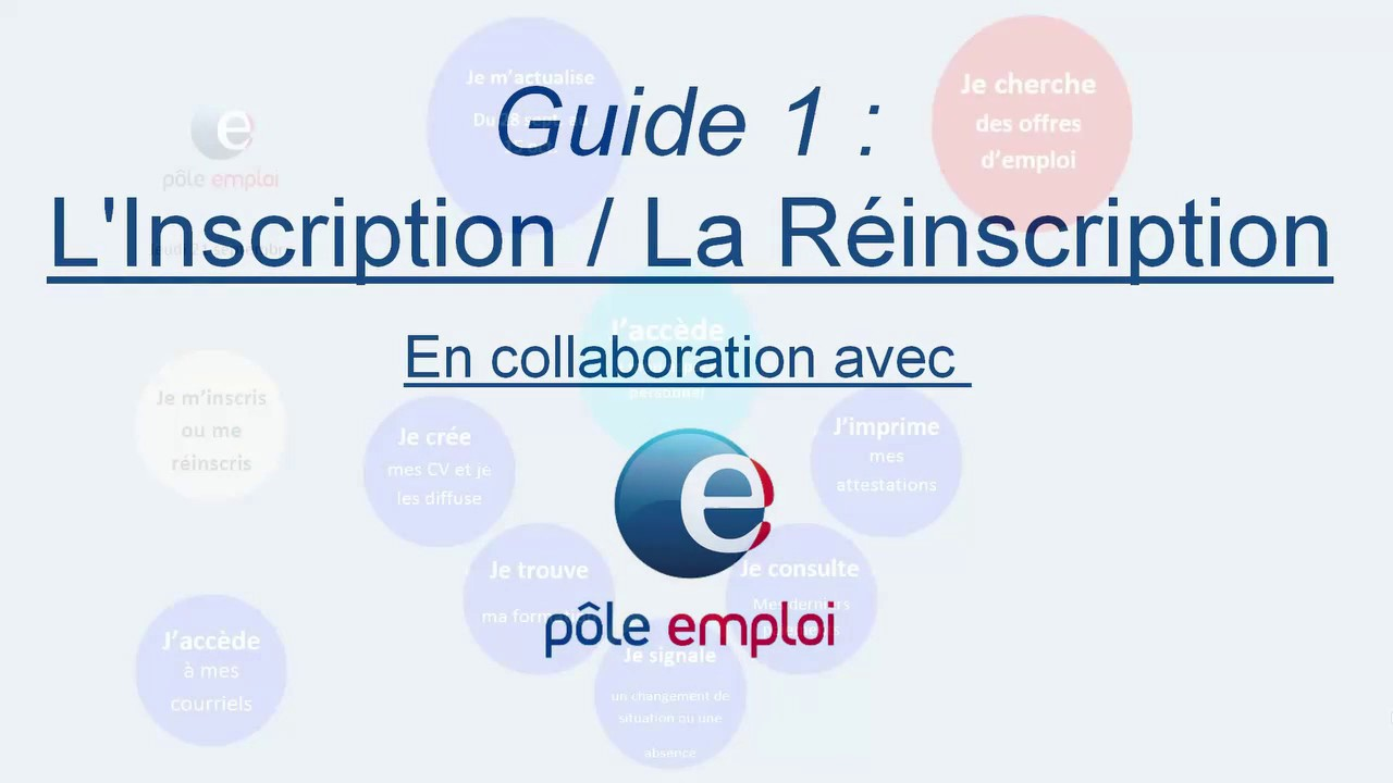 Guide 1 Inscription Reinscription Sur Pole Emploi Fr Youtube