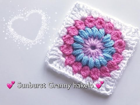 sunburst granny h keln blumen granny square h keln youtube. Black Bedroom Furniture Sets. Home Design Ideas