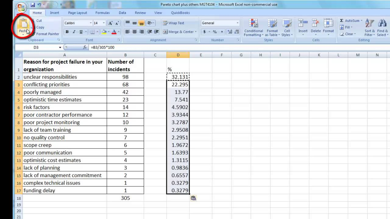 how to create a pareto chart in ms excel