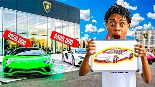 Whatever You Draw, I'll Buy It Challenge !! He Got A NEW LAMBORGHINI!!