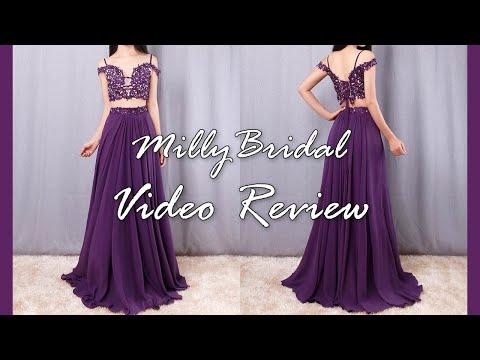 evening-dresses-|-long-two-piece-v-neck-chiffon-regency-formal-prom-dress---millybridal-video-review