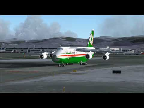 ANTONOV AN124 EVA AIR CARGO TAKE OFF FROM ANCHORAGE INTL AIRPORT FS9 HD