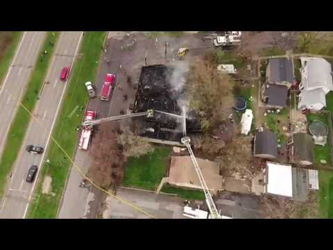 Drone video:  North Tonawanda fire on Division Street