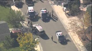 Los Angeles bank robbery, then police chase, then shots fired (Aerials from KNBC)