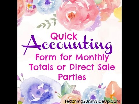 Easy Direct Sales - Accounting Sheets for Monthly Sales or PARTIES!