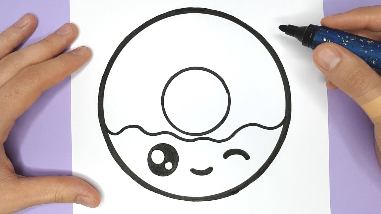 How To Draw A Cute Donut Easily Happy Drawings