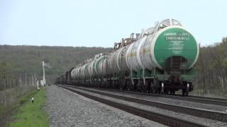 Грузовой поезд на перегоне Клёны-Вольск 2.(Проследование грузового поезда от Глубокой выемки до Автомоста., 2014-05-21T15:25:00.000Z)