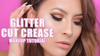 COPPER GLITTER CUT CREASE MAKEUP TUTORIAL | DESI PERKINS