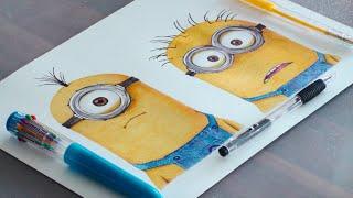 Minions Pen Drawing - 2015 - DeMoose Art