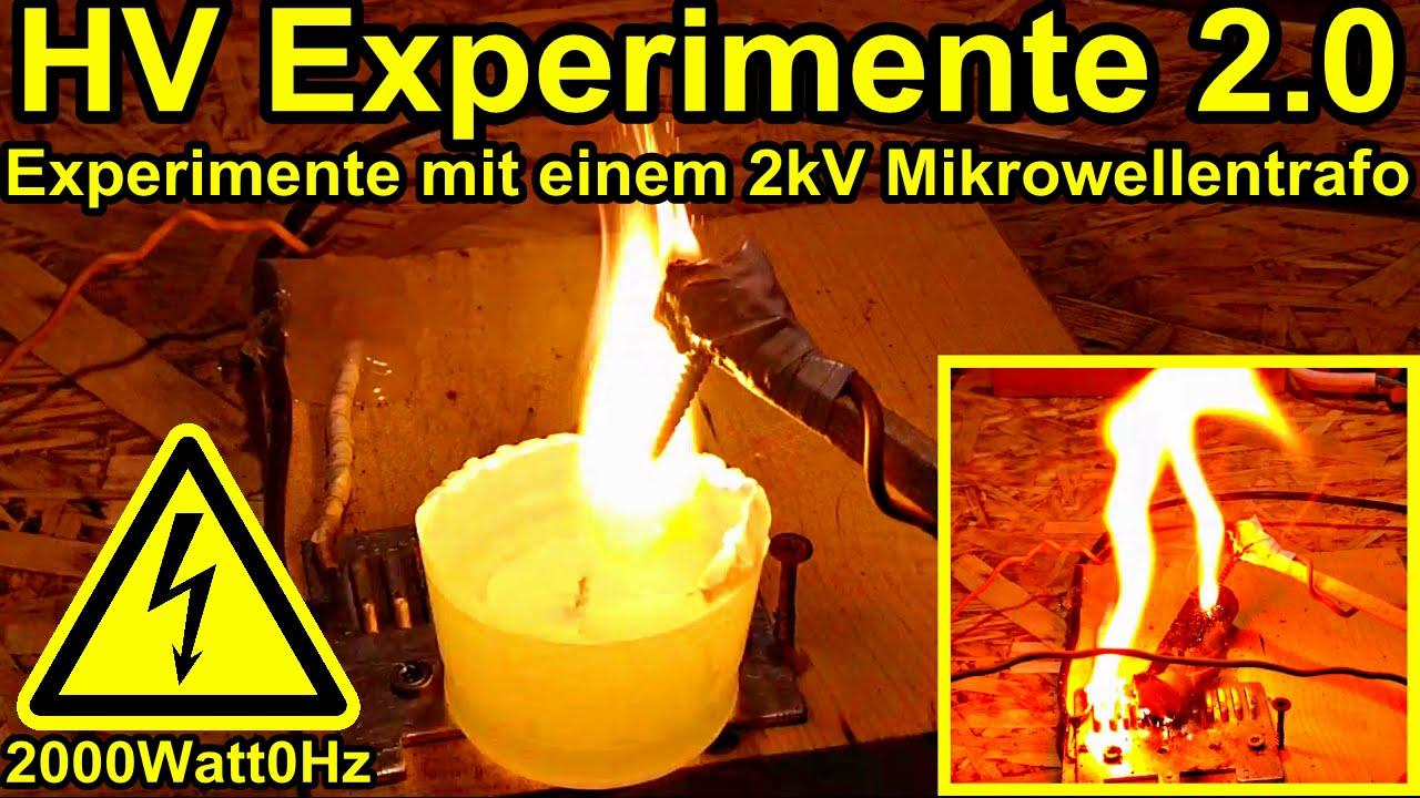 experimente mit einem mikrowellentrafo 2.0 - youtube