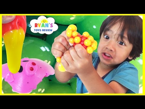 SQUISHY BALLS Mesh Slime Learn Colors and Animals Cut Open Squishy Splat Ball Toddlers and Kids Toys