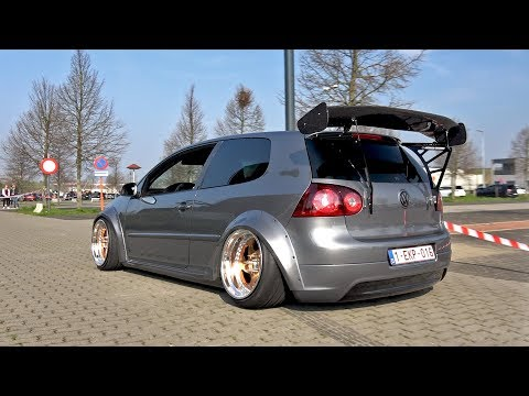 Tuning Cars Arriving at a Car Meet! VW Golf 5, GTI, R32, Subaru Impreza, Supra & More!