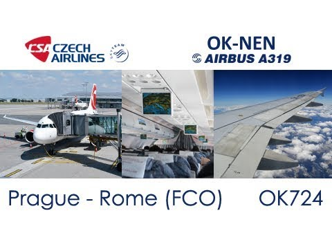 Flight from Prague to Rome (FCO) | CSA Czech Airlines Airbus A319 OK-NEN (Trip Report)