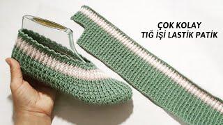 Tığ İşi Çok Kolay Çeyizlik Lastik Patik Yapılışı / Very Easy Crochet Nice Shoes