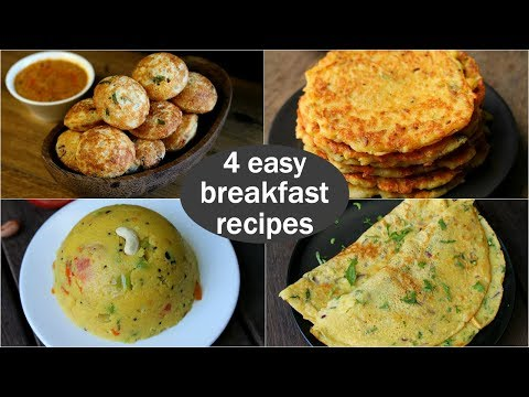 4 easy veg breakfast recipes | quick & healthy breakfast ideas | high protein breakfast