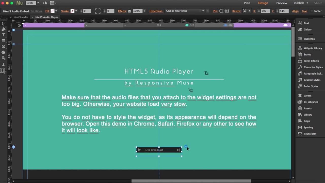 Free HTML5 Audio Player Adobe Muse Widget