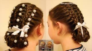 Прическа из кос декорированная бусинами. Видео-урок