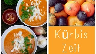 Kürbis-Kokos-Suppe mit rotem Curry & Kokosflakes