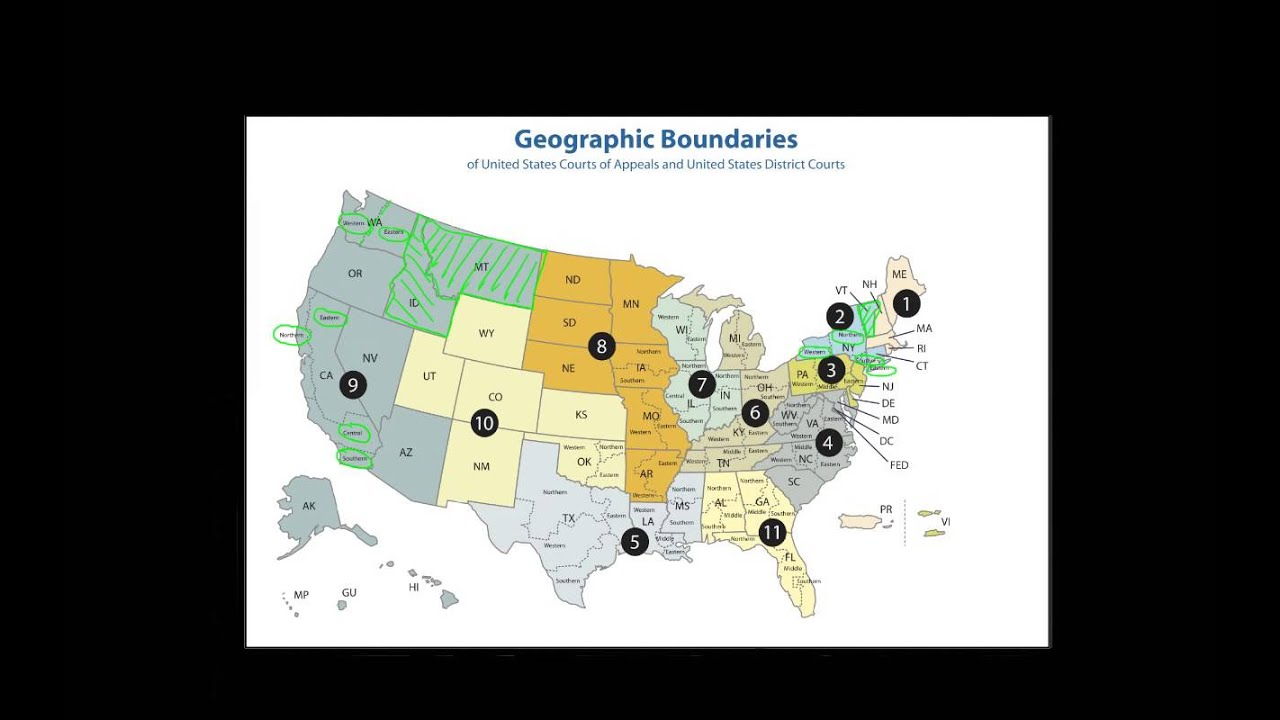 Overview Of The Federal Court System YouTube - Us federal courts map