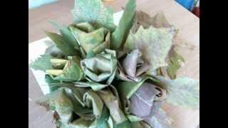 Как сделать Цветок из листьев.Осенний букет.