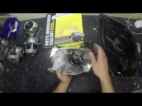 разборка фары и установка модулей