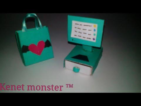 Como hacer una maquina registradora y una bolsa de compras - Como hacer una caja de carton ...