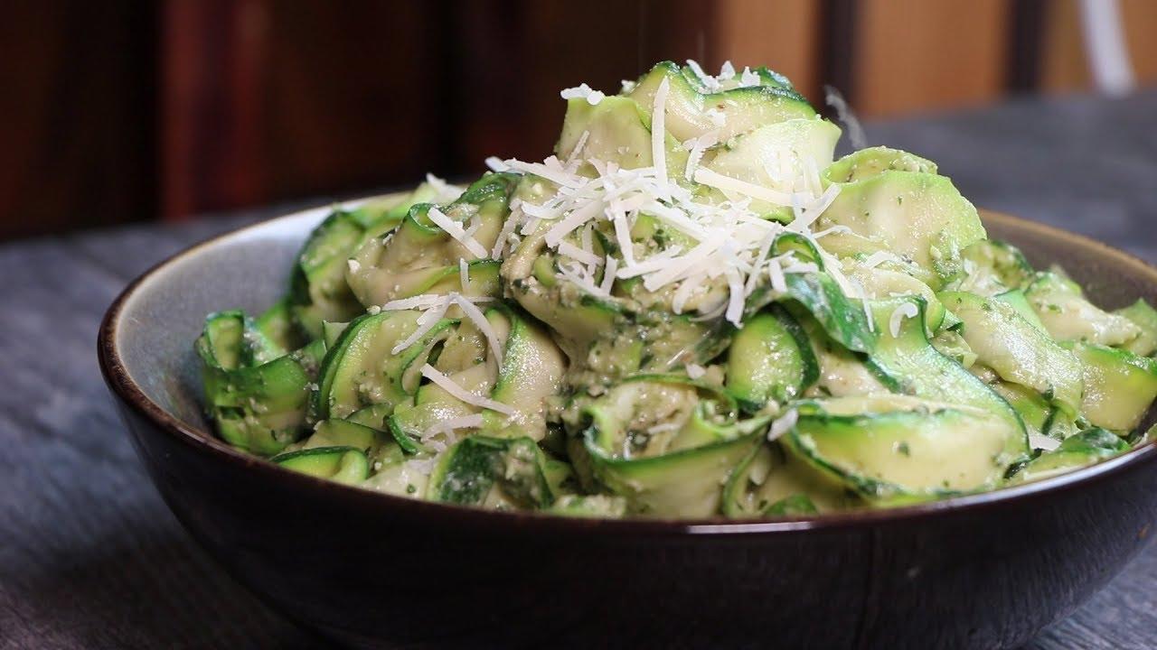Keto Recipe Zucchini Ribbons Avocado Walnut Pesto Youtube